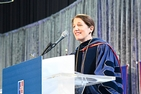 American University President Sylvia Burwell gives a speech during her inauguration in April 2018