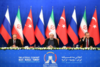 President Vladimir Putin of Russia, Hassan Rouhani of Iran and Recep Tayyip Erdogan of Turkey