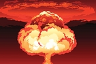 Nuclear explosion mushroom cloud. Yellow and orange fireball.