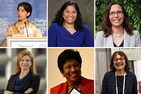 Collage headshots of Seema Khan, Esther Benjamin, Laura Rosenberger, Dawn Miller, Vidyamali Samarasinghe, and Nanette Levinson