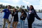 Students pose for photo at a South Florida Summer Send Off event hosted by AU alumna Amy Lampert.