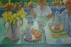 "Carol Bird Ravenal, Breakfast with Twin, ""Good Morning Gene D."" 51x32 inches"