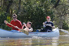 The Center for Environmental Filmmaking director Chris Palmer canoes with students in Florida during Classroom in the Wild