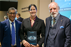 (L-R) Anupam Chander, Laura DeNardis, Vinton Cerf at Internet in Everything book talk