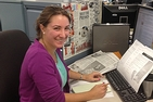Stefanie Dazio at her desk in the Washington Post's offices
