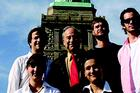AU students and professor in front of Statue of Liberty