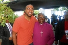 Kevin Felisme, SPA/BA '14, with Archbishop Desmond Tutu.