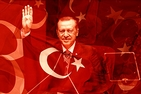 Turkish President Recep Tayyip Erdogan and Turkish flag.