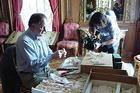 SOC student Jon Malis films culinary historian Ivan Day at the Hillwood Museum.