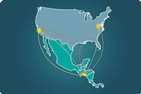 A map of the US and Central America links Washington, DC, Los Angeles, and San Salvador.