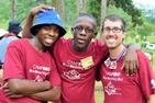 Cody Ragonese (SIS BA '14) beside two BRO campers.