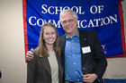 Gil Klein (mentor) MA/SOC 1973 and his student mentee, Caroline Stetler, 1st year graduate student in Journalism