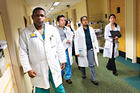 Senior resident and AU alum Hamid Kargbo and his team at Johns Hopkins Bayview Medical Center