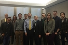 EPA Deputy Administrator Stanley Meiburg, sixth from left, talks with SPA students about career in environmental policy.