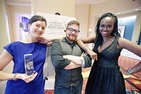 Three school of communication representatives at National Capital Emmys
