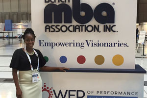 Brittany Osazuwa, MBA '17, at the National Black MBA Association's conference and expo, September 2017