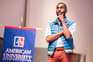 DeRay Mckesson speaking in the Katzen Arts Center.