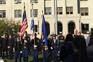 Soldiers standing on the Quad in front of Mary Graydon Center, for Veterans Day celebration.