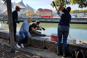 Students filming in Baltimore's Harbour