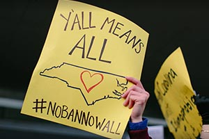 The Trump administration's executive order on refugees was met with protests at the Raleigh-Durham International Airport.