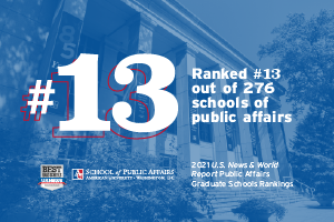AU SPA ranked #13 out of 276 schools of public affairs