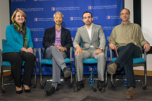 Hoover Institute Research Fellow Alice Hill, Department of Environmental Science Professor Kiho Kim, Francesco Femia, president and co-founder of the Center for Climate and Security, and School of International Service Professor Paul Wapner.