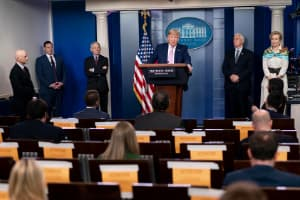 President Donald J. Trump, joined by Vice President Mike Pence and members of the White House COVID-19 Coronavirus task force, addresses reporters Saturday, April 4, 2020, in the James S. Brady White House Press Briefing Room.
