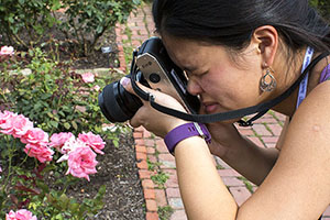 Girl taking a photo of pink flowers