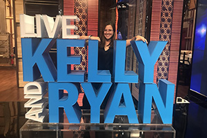 Emma Galasso with sign: Live with Kelly and Ryan