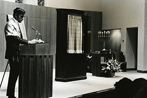 A Jewish student reads from the Torah at the Kay Center's 1965 dedication