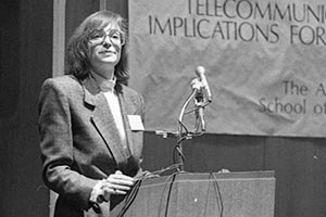 Professor Nanette Levinson speaks at a podium.