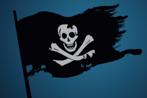 A black flag with a skull and crossbones.