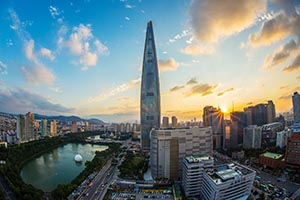 Skyline of Seoul South Korea with skyscraper in center