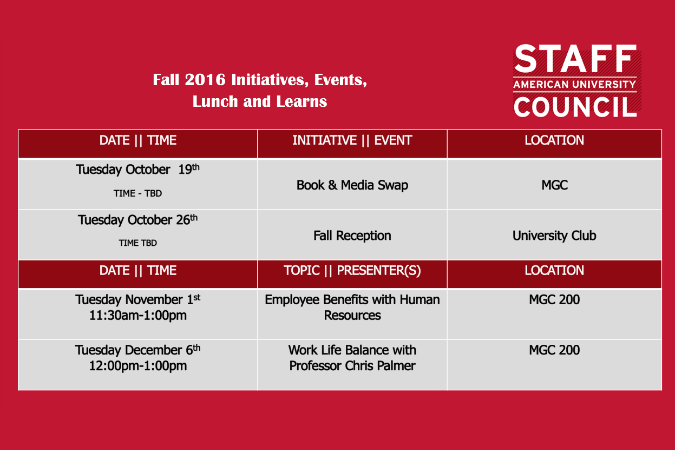 Fall 2016 Initiatives, Events, and Lunch and Learns