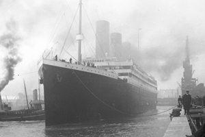 The Titanic docked at port in 1912.