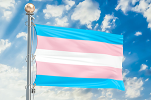 Pink, blue and white striped flag