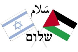 The Palestinian flag crossing with the Israeli flag. The word 'peace' is written in Arabic and Hebrew.