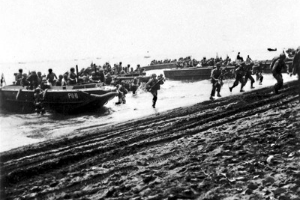 Members of the 1st Marine Division land on Guadalcanal on Aug. 7, 1942.