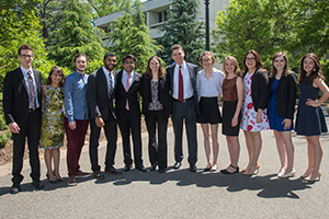The 2017 American University Student Award winners standing with each other on the quad.
