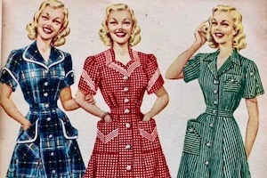 Three women in 1950s housedresses: blue, red, green.