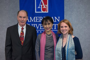 Joe, Daw Aung San Suu Kyi, and Christine Gettings