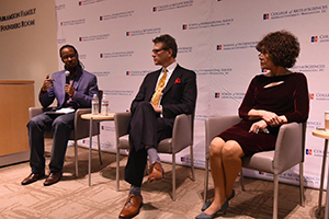 Ibram X. Kendi shown with Robert Benz and Nettie Washington Douglass.