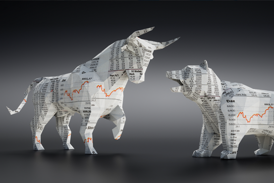 stock photo of the stock market on a digital bear and bull.
