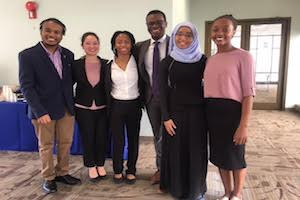 Winning Team stands together at AU's Global health Competition