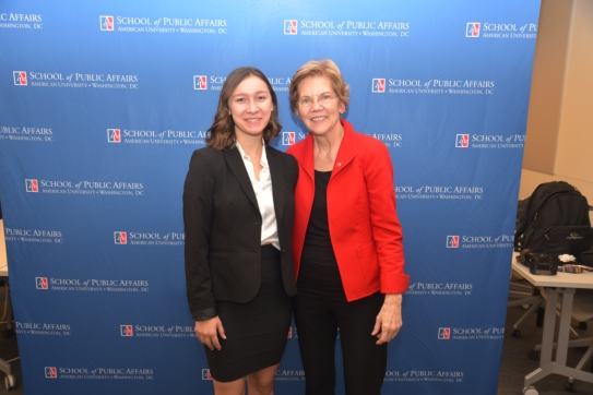 Senator Elizabeth Warren with Amrutha Chatty
