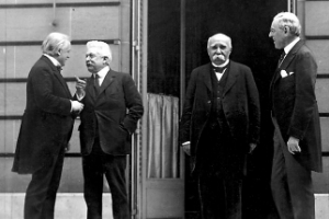 Prime Minister David Lloyd George, Premier Vittorio Orlando, French Premier Georges Clemenceau, and President Woodrow Wilson at the WWI Paris peace conference.