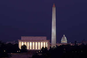 Washington DC monuments and Capitol building at night