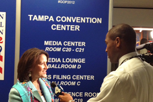 McBride is interviewed by WRC-TV Washington at the convention.