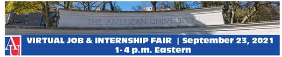 Virtual Job & Internship fair September 23, 2021 1-4 p.m. Eastern
